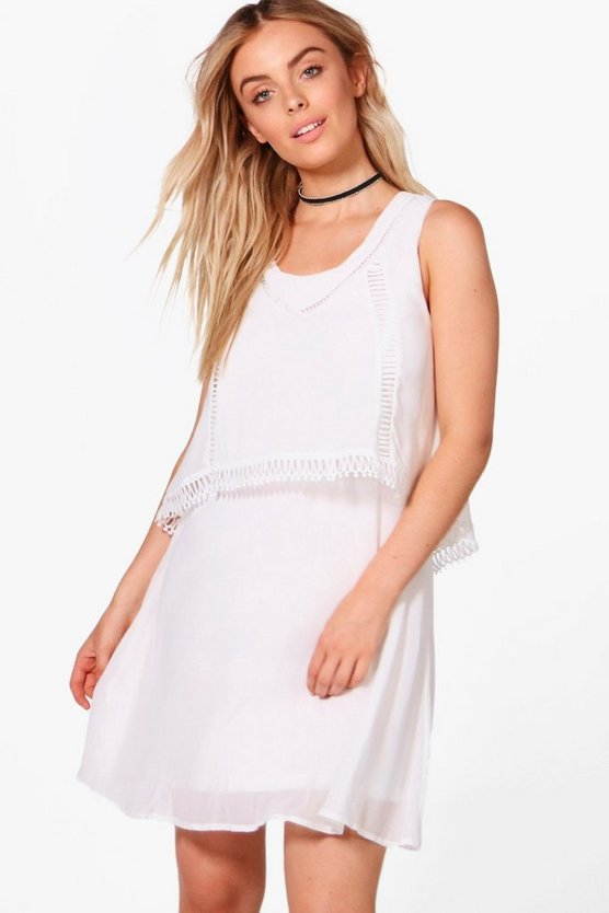 Katie Double Layer Crochet Trim Skater Dress