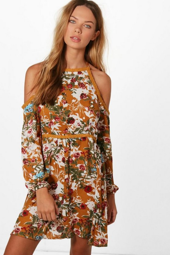 Jessica Cold Shoulder Floral Skater Dress