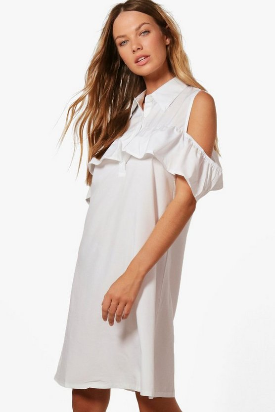 Abi Ruffle Could Shoulder Shirt Dress