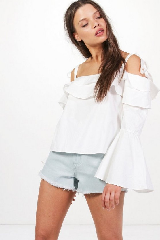 Penelope Tie Bell Sleeve Off The Shoulder Top