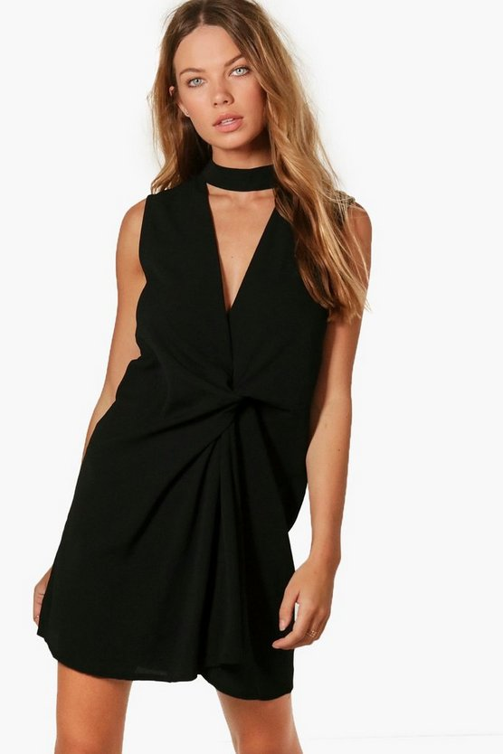 Jemima Chocker Knot Front Shift Dress