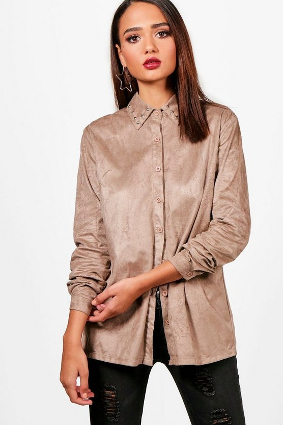 Faye Studded Suedette Shirt