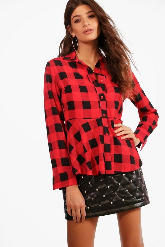 Eliza Peplum Check Shirt