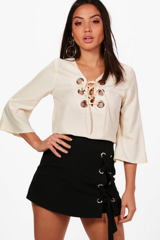 Eyelet Lace Up Woven Blouse
