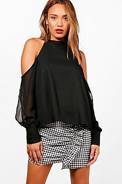 Layla Chiffon Glockenärmeln und Bluse mit ausgeschnittenen Schultern - Boohoo.com