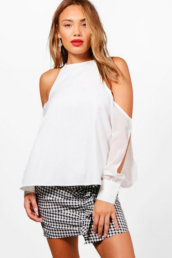 Cold Shoulder Chiffon Bell Sleeve Blouse