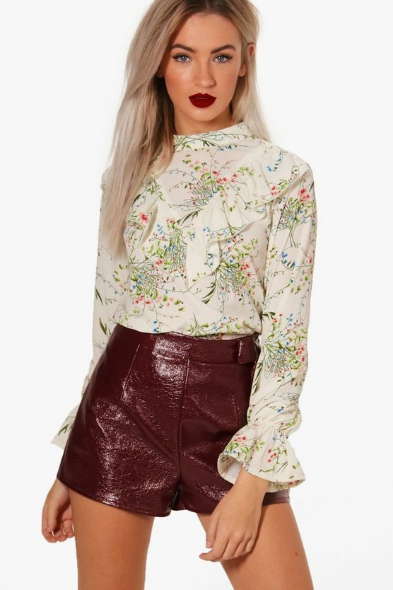 Floral Flare Cuff Ruffle Blouse