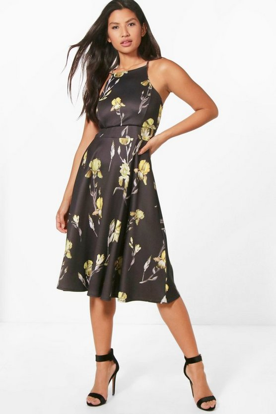 Alessa Floral Strappy Midi Skater Dress