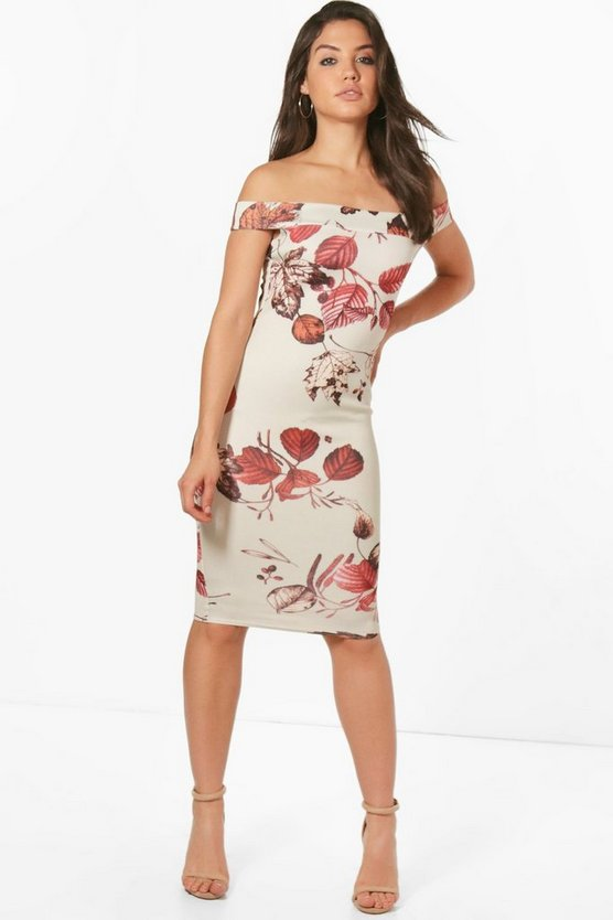 Tanzy Leaf Print Off the Shoulder Midi Dress