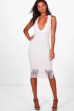 boohoo female albany plunge and tassle hem midi dress