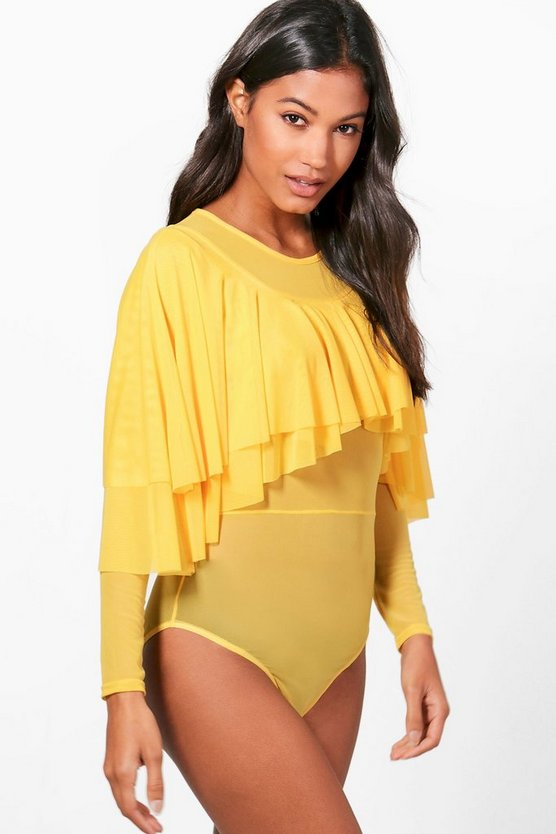 Willow Ruffle Frill Mesh Bodysuit