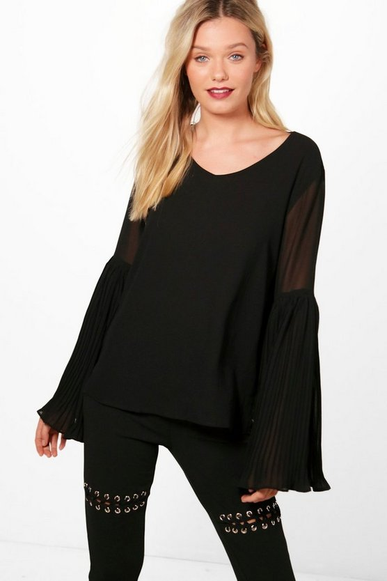 Ria Pleated Flare Cuff Blouse