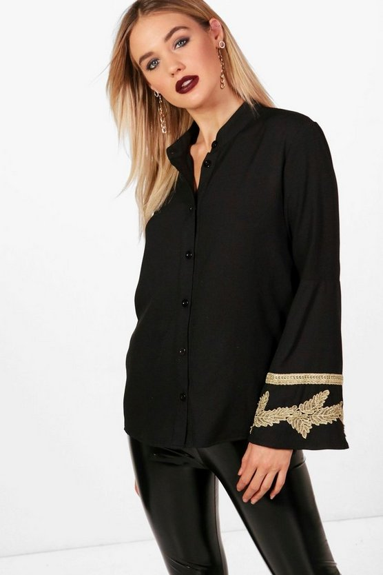Martha Applique Trim Wide Sleeve Folk Shirt