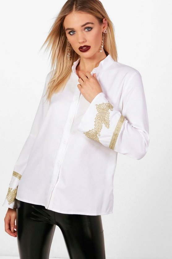 Applique Trim Wide Sleeve Folk Shirt