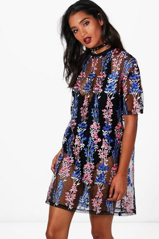 Embroidered Mesh T-Shirt Dress