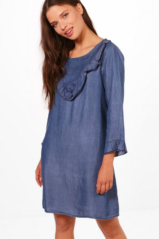 Candi Denim Ruffle Frill Front Dress