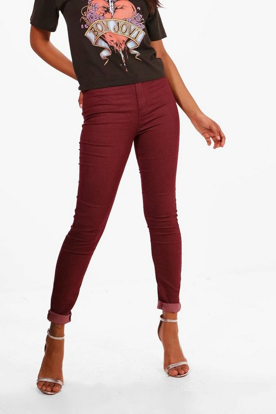 Lara Burgundy High Rise Tube Jeans