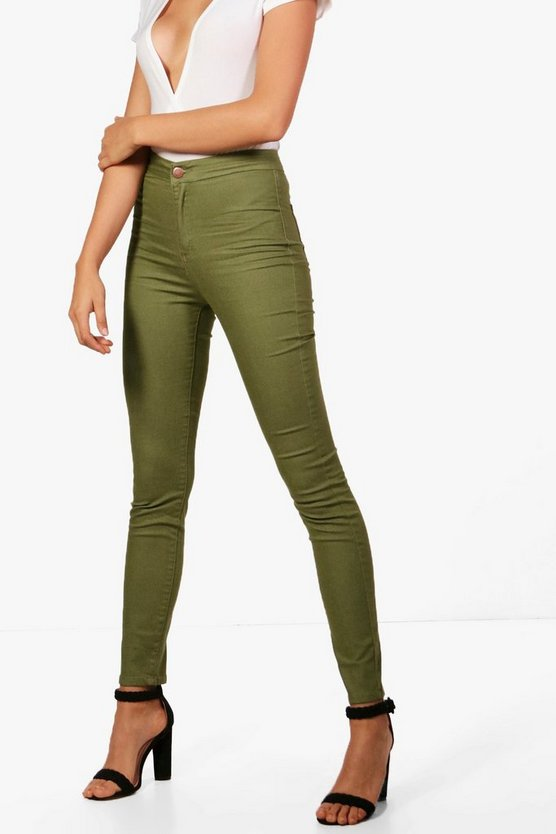 Khaki High Rise Tube Jeans
