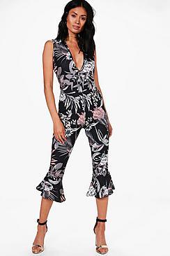Kyla Jumpsuit mit Rüschensaum, Blumen-Print und Hosenrock - Boohoo.com