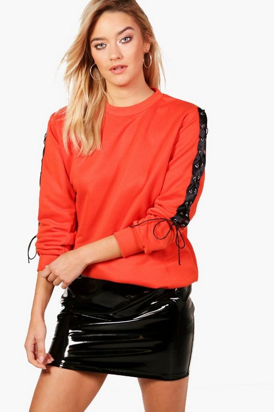 Harriet Lace Up Sleeve Oversized Sweat