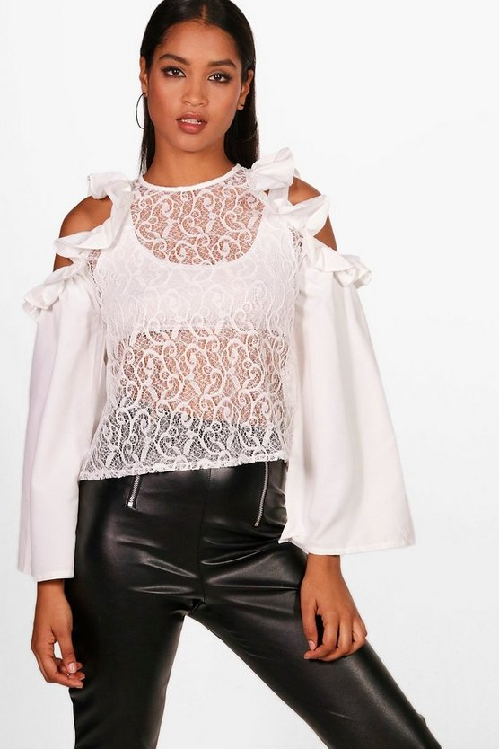 Ruby Ruffle Lace Cold Shoulder Top