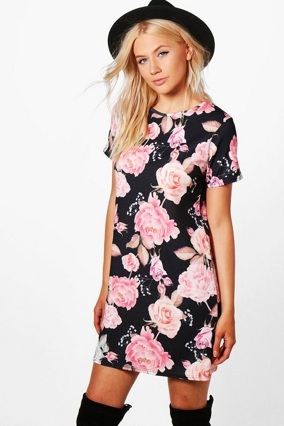 Georgia Floral Printed Cap Sleeve Shift Dress