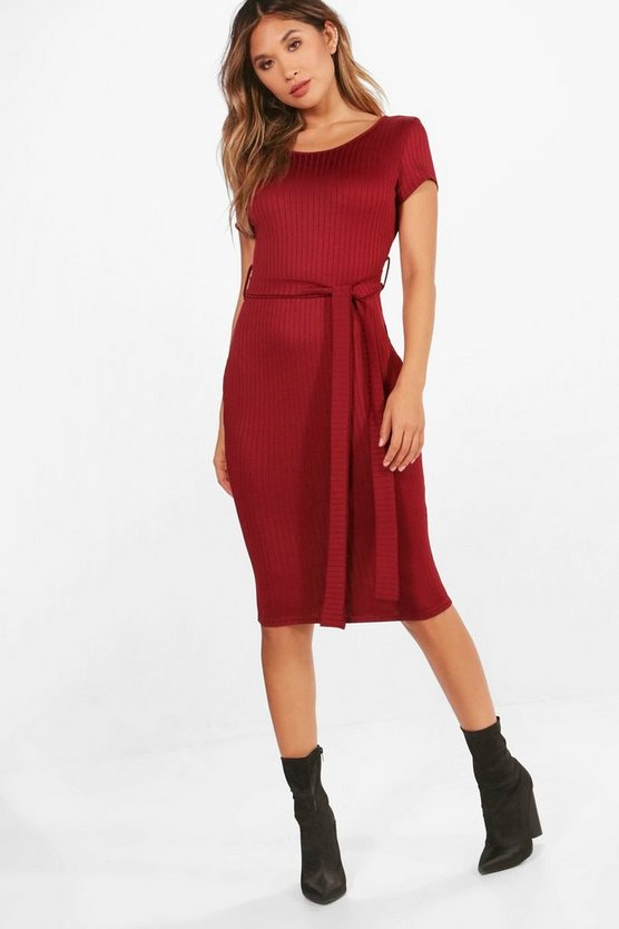 Ella Ribbed Tie Waist Midi Dress
