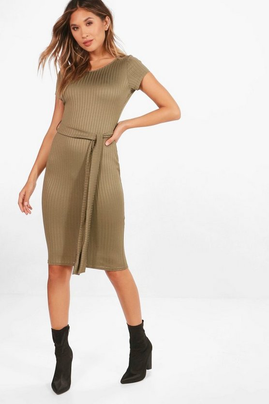 Ribbed Tie Waist Midi Dress
