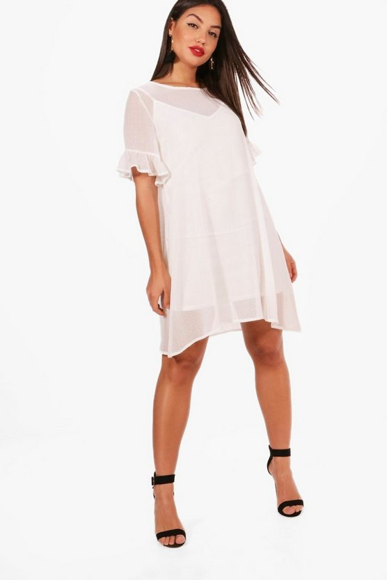 Dobby Mesh Ruffle Sleeve Shift Dress
