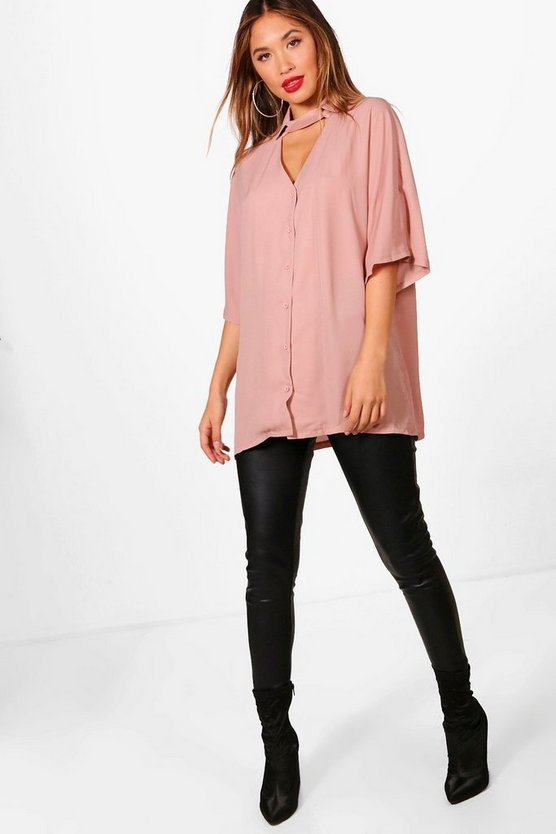 Choker Detail Oversized Shirt