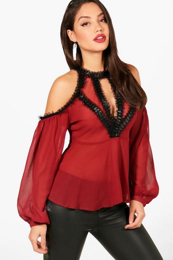Brynlee Lace Trim Plunge Panel Blouse
