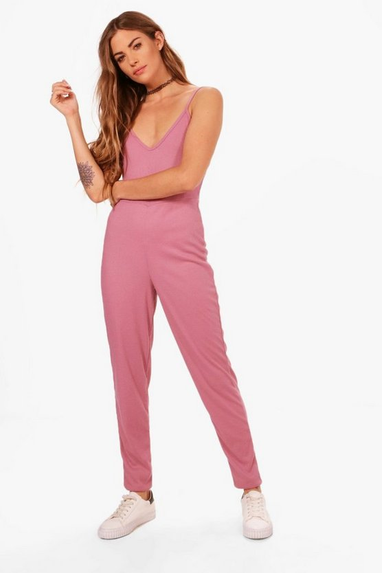 Phoebe Scoop Back Rib Knit Lounge Jumpsuit