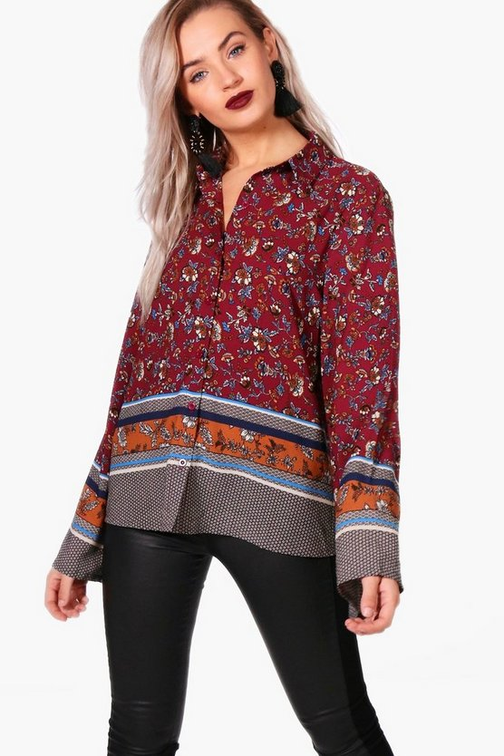 Gabriella Printed Wide Sleeve Shirt