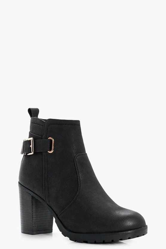 Polly Buckle Trim Cleated Heeled Boots