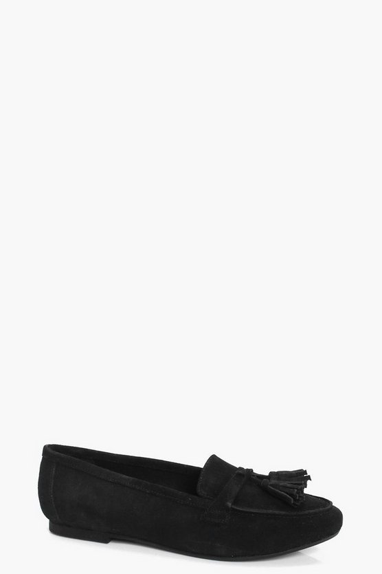 Jessica Tassel Trim Suede Loafers