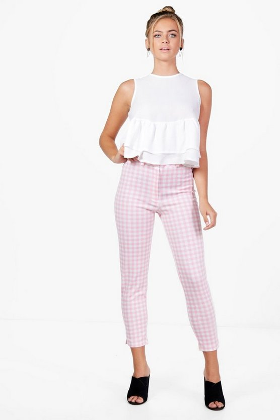 Georgina Gingham Stretch Skinny Trousers