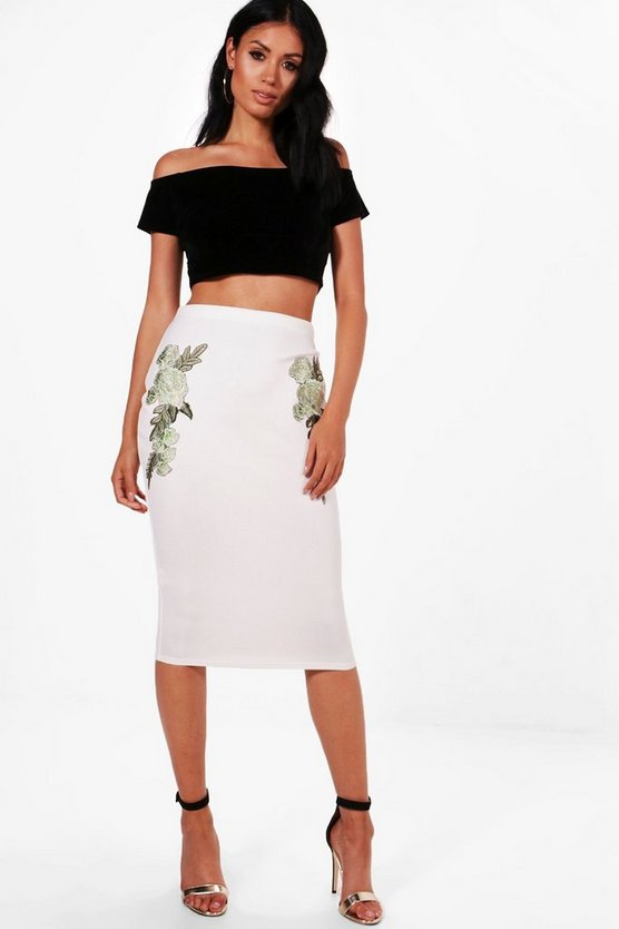 May Pastel Floral Applique Midi Skirt