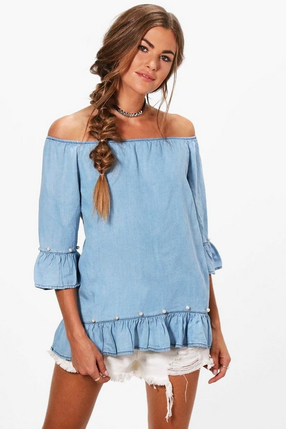 Janie Pearl Detail Denim Off The Shoulder Top