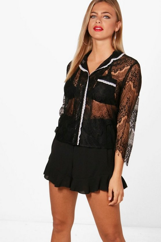 Eyelash Lace Pyjama Shirt