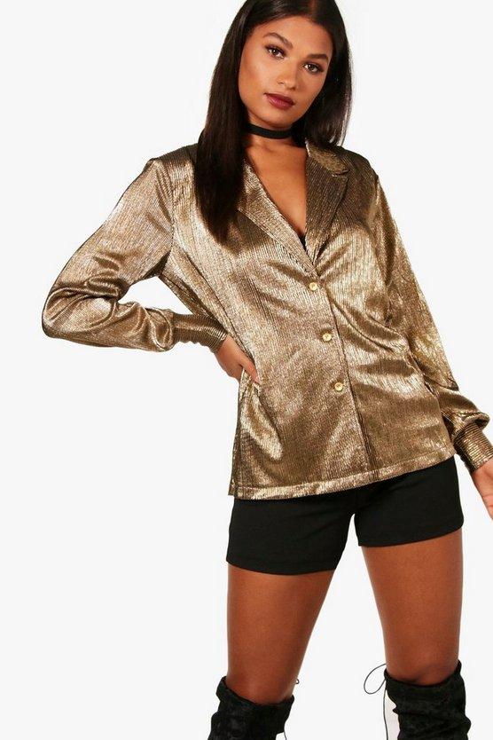 Pleated Metallic Plunge Shirt