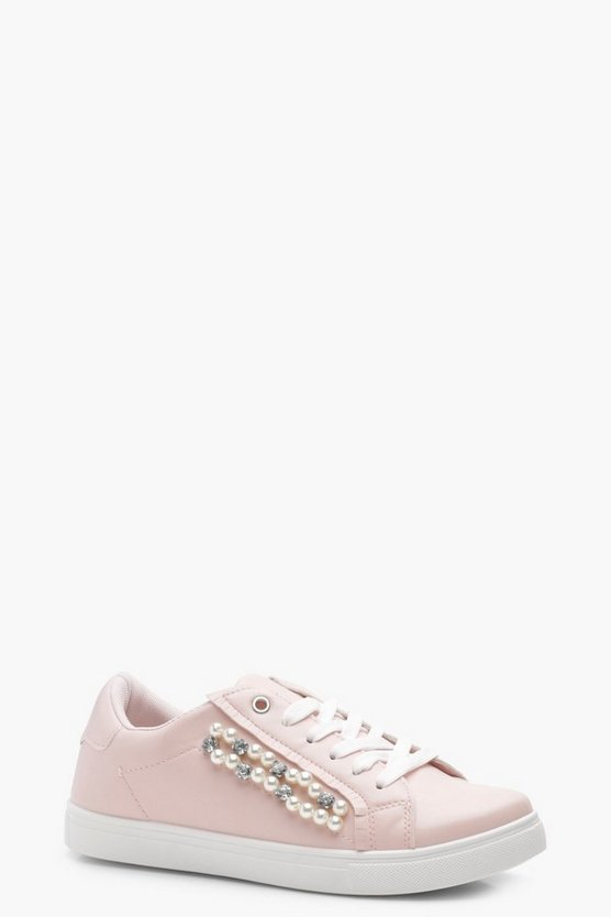 Kat Pearl & Diamante Ribbon Lace Trainers