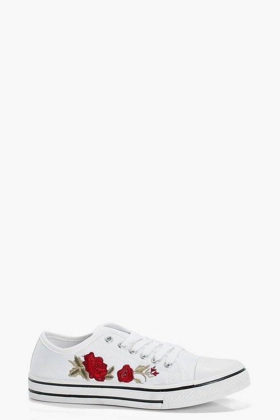 Este Embroidered Lace Up Canvas Trainers