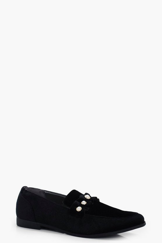 Indi Pearl & Frill Trim Loafers