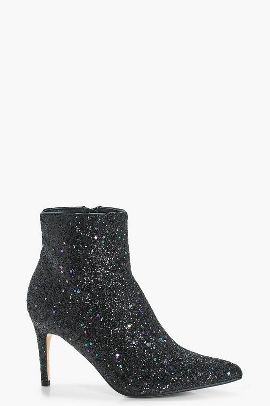 Abi Pointed Toe Glitter Ankle Shoe Boot