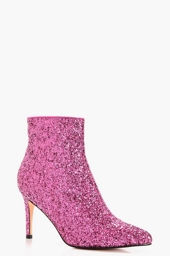 Abi Pointed Toe Glitter Ankle Shoe Boots