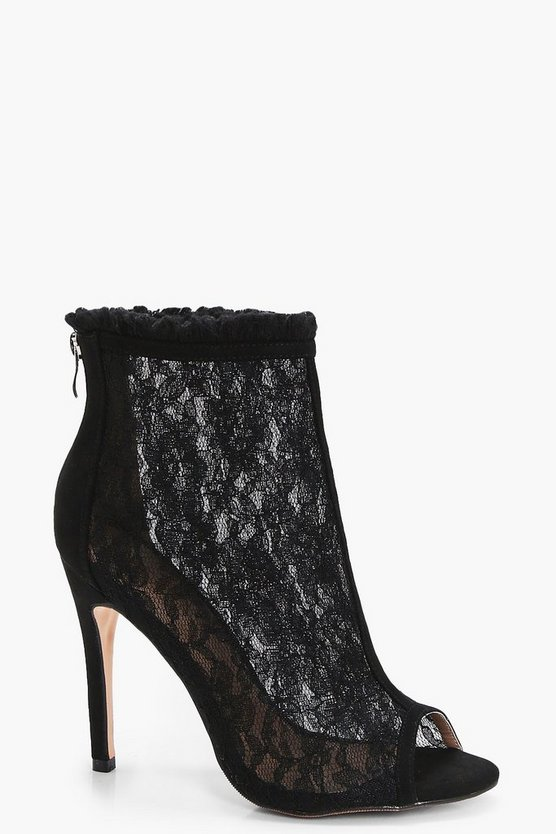 Erin Peeptoe Lace Fray Detail Shoe Boot