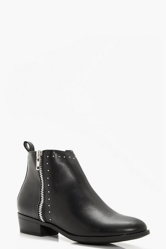 Anna Wide Fit Pin Stud And Zip Ankle Boot