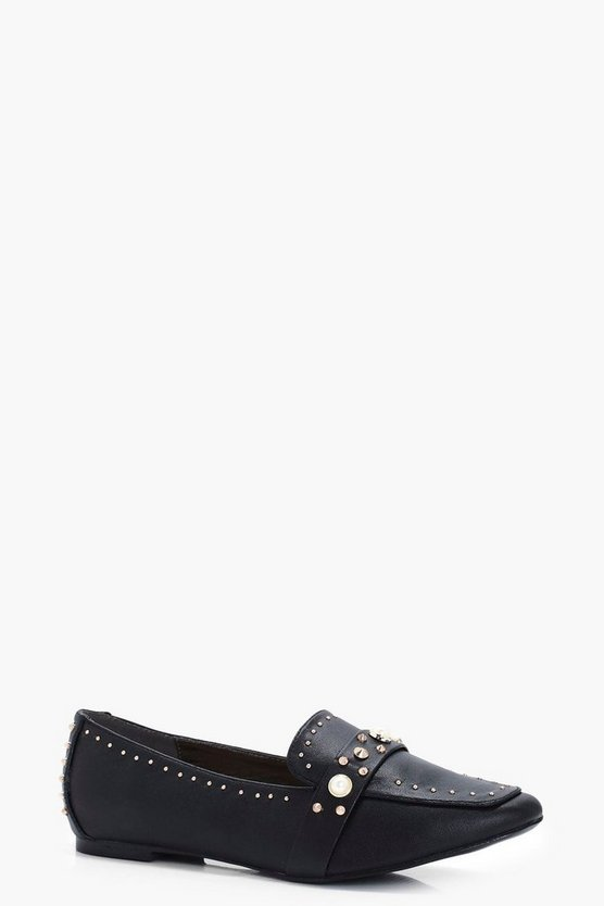Ella Pearl & Stud Trim Loafers