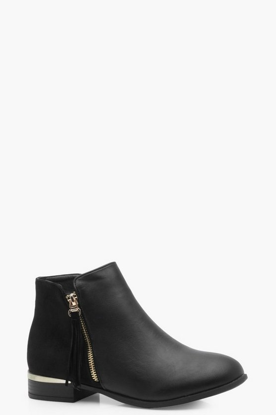Lily Mix Material Zip Trim Chelsea Boot