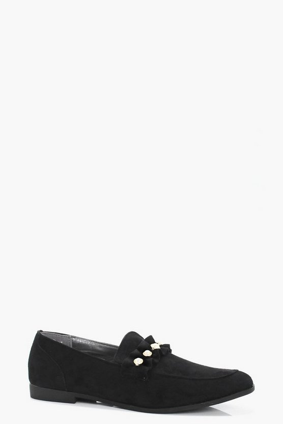 Louisa Pearl & Frill Trim Loafers